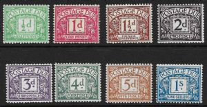1914 D1-D8 George V Simple Cypher Postage Due Set MOUNTED Mint